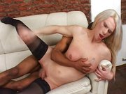 Blond tranny gets fucked