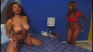 Beautiful ebony sweet baby masterbates and licks her girlfriend
